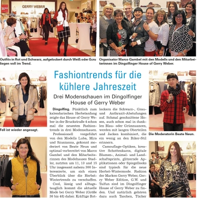 Organisation der Modenschau im House of Gerry Weber Dingolfing